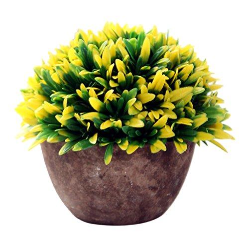 Gras, Pflanzen (Generic Künstliche Glück Gras Pflanze Blätter Vergießen Bonsai im topf Blumen Garten Hause Deko - Gelb)
