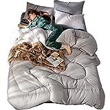 YXDDG Ganzjahresdecke Überlegene leuchtet weiß Alternative daunendecke, Bettdecke einfügen, Mittleres Gewicht für die ganze Saison, Fluffy, Warme, Weiche & hypoallergen-Grau 220x240cm(87x94inch)