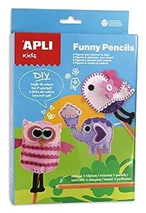 APLI Kids - Funny pencils, juego para decorar lapiceros cosiendo