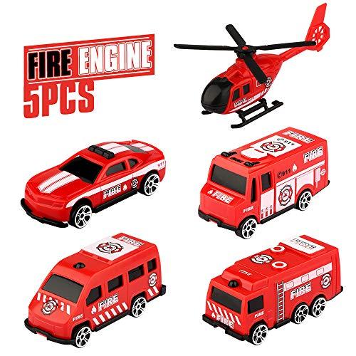 Feuerwehrauto, Baztoy Kinder Auto Spielzeug Klein Fire Engine Mini Car Toy 4 Rettung Autos 1 Feuerwehr Helikopter Lernspielzeug Christmas Geschenke für Baby Junge Mädchen Kleinkind Party Decoration