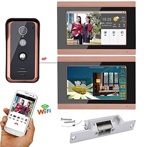 on Türklingel Freisprecheinrichtung Zutrittskontrollsystem mit Elektroschocksperre Home Security Outdoor Überwachung 2 * 7 Zoll TFT Display Unterstützung Remote APP Kamera Video ()