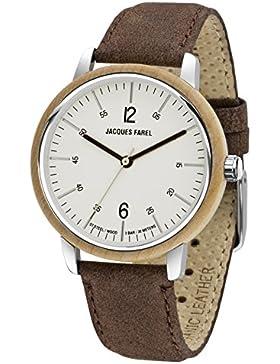JACQUES FAREL hayfield Armbanduhr Damen mit Ahornholz und Öko-Lederband terrabraun, Stahlgehäuse 3 bar ORW 1006