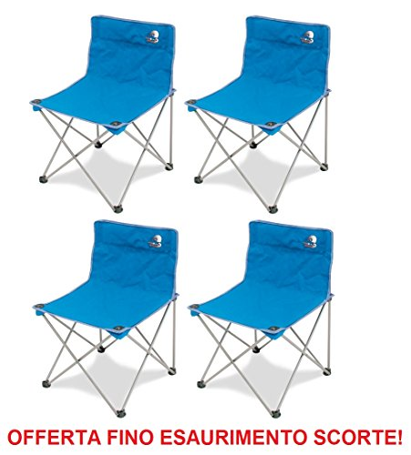 CON.VER. Fauteuil Storm Pliable en Fer avec Tissu textilène Bleu + Poche pour Le Transport – Idéal pour Camping – Offre 4 pièces.