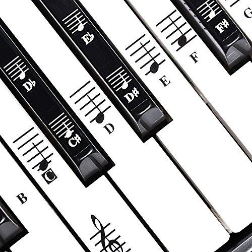 Klavier Keyboard Aufkleber für 49/61/76/88 Tasten, Keyboard Noten Aufkleber für Schwarze & Weisse Tasten, mit Benutzerhandbuch - TimberRain (Schwarze & Weisse)
