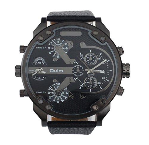 Yistu Luxus militärischen Armee Dual Time Quarz große Zifferblatt Armbanduhren,schwarz -