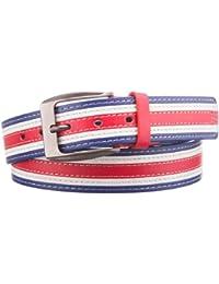 style3 Sportlicher 3-farbiger Herren Gürtel in Blau-Rot-Weiß in verschiedenen Längen