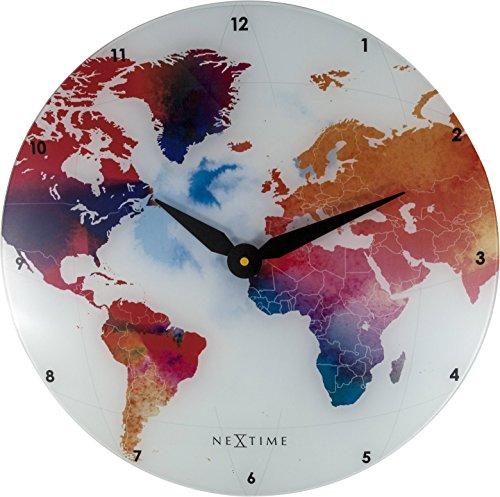 NeXtime Wanduhr Colorful World, lautlos, rund, aus Glas, ø 43 cm