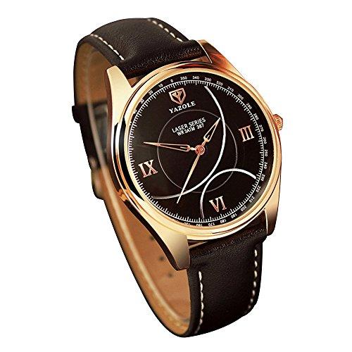 YaZhuoLun Herren-Armbanduhr,Legierung PU-Leder Wasserdicht Quarzwerk Uhren Uhr,Rose Gold(Schwarz)