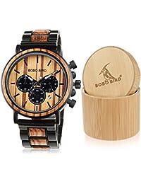 Relojes de Madera para Hombre, clásicos, de Lujo, Elegantes, de Madera y Acero Inoxidable, cronógrafo Combinado, Cuarzo Militar,…