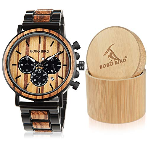 Bobo Bird In legno orologi da uomo classico lusso elegante legno e acciaio inossidabile combinato cronografo militare quarzo sport casual orologio da polso (Brown)