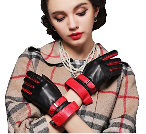 Preisvergleich Produktbild HYSENM Damen Handschuhe Leder rot und schwarz elegant Lammfell für Party Outdoor,  Schwarz 2 M (Handflächebreite 7, 5cm)