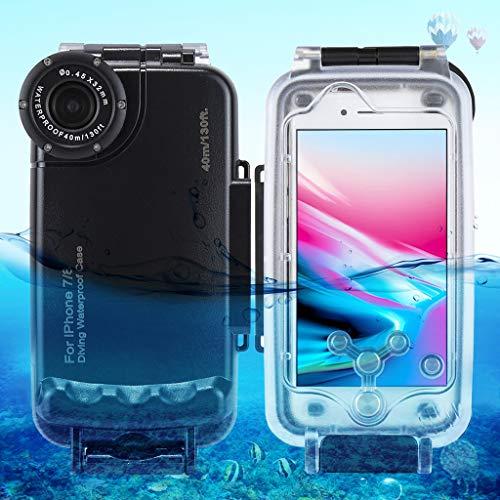 Mumuj Unterwasser Gehäuse für iPhone 7 8, Tauchen Shell 40m Unterwassergehäuse Schützende mit Lanyard mit 1/4 '' Schraubloch Smartphone Wasserdicht Hülle Waterproof Schutzgehäuse Case (Schwarz) (Smartphone-wasserdicht Schützende)