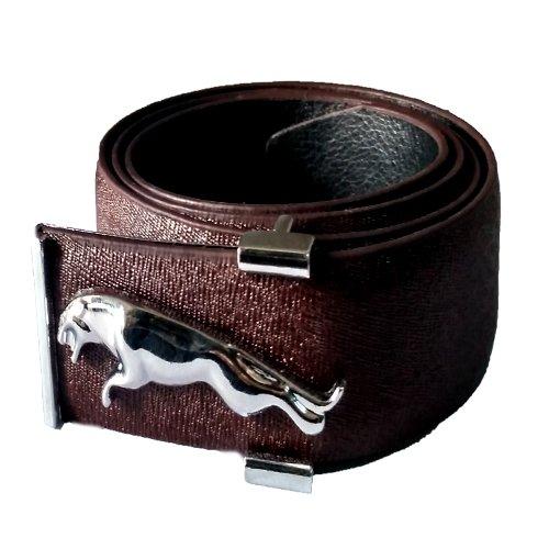 JaisBoy Stylish Branded Look Drak Brown Jaguar Buckle Belt For Men's Designer  available at amazon for Rs.349