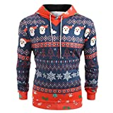 TIFIY Herren Weihnachten Kapuzenpullover,Unisex 3D Druck Pullover Langarm Sweatshirt Weihnachten Feiertagskostüm Lustiges Jumper Bluse (Rot 1,EU 46/CN L