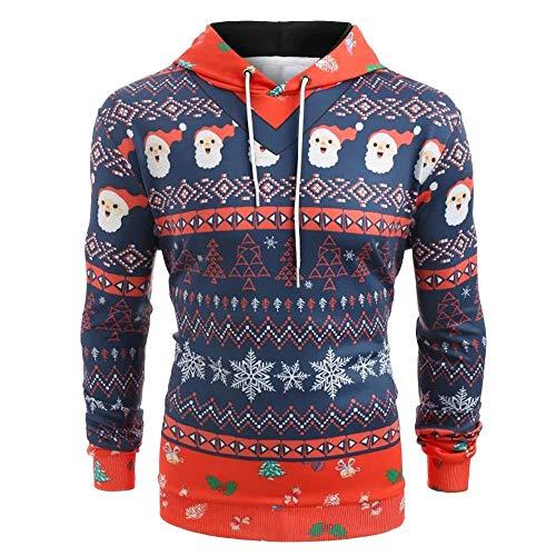 Setsail Herren Trend nach Oben Weihnachtsanzug Muster 3D Print Langarm Hoodie Caps Sweatshirt Pullover - Ausgestattet Print Cap