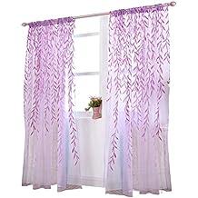 Visillos para Ventanas Cortina Voile con Bordado Hoja Púrpura 100x270cm