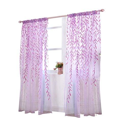 WINOMO Transparente Voile Vorhänge Gardine Schal Dekoschal für Schlafzimmer Wohnzimmer Blätter Druck 100x200cm (Vorhang Schals Lila)