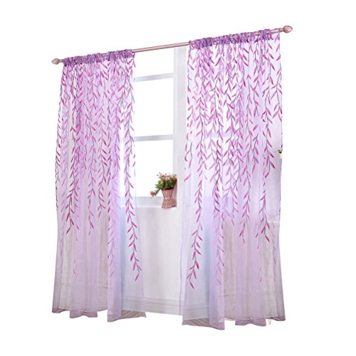 Tende per finestre porta trasparente winomo tende ricamate fogli viola 100x270cm