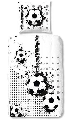 Aminata Kids – Bettwäsche 135x200 cm Kinder Jungen Fußball Champion Baumwolle Reißverschluss |inkl Gratis E-Book| Schwarz Weiß Kinderbettwäsche Ball Tornetz Fußballspieler Bettwäscheset Bettbezug (Fußball Weiß-baumwolle)