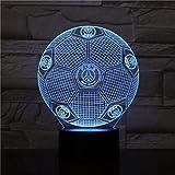 Veilleuse 3D Paris Saint-Germain football illusion lampe de table LED 7 couleur tactile télécommande couleur humeur lampe USB maison chambre lampe de chevet...