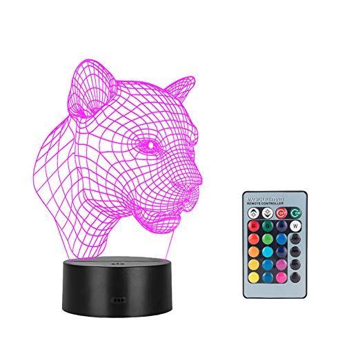 Winzwon 3D Illusion Lamp mtb Schlafzimmer Schreibtisch Tisch Nachtlicht, USB-Stromversorgung 16 Farben 3d night light Blinken Berührungsschalter Schlafzimmer Schreibtischlampe für Kinder Weihnachts geschen(Leopard)