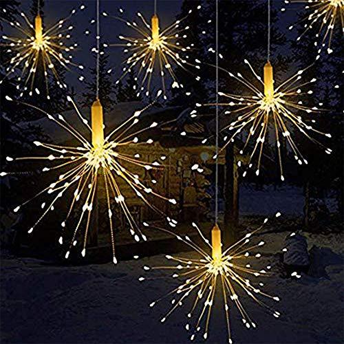 Luces LED de fuegos artificiales, alambre de cobre 120 luces LED a prueba de agua flash de Navidad sala de control remoto, jardín, terraza, boda, fiesta, decoración de bricolaje, 1 unidades