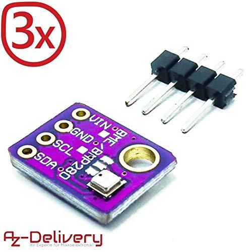 AZDelivery ⭐⭐⭐⭐⭐ 3 x GY-BME280 Barometrischer Sensor für Temperatur, Luftfeuchtigkeit und Luftdruck mit Gratis eBook -
