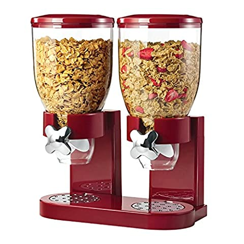 Double Plastic Classic Dry Food Dispenser Double Canister, Red/ Transparent
