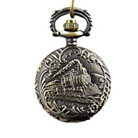 Finejo Locomotive Vintage Style Bronze Steampunk Quartz Pocket Watch