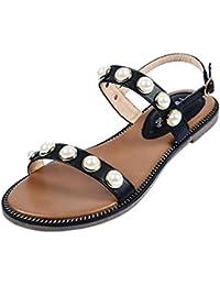 LHWY Sandalen Damen Sommer Flach Frauen Zehentrenner Universal Schuhe Perle Böhmen Freizeit Dame Sandalen Peep-Toe Outdoor Slingback Schuhe Schwarz Glitzer (41, Schwarz)