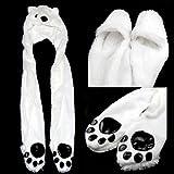 Sodial - Gorro multifunción (guantes, bufanda, capucha), diseño de oso polar, color blanco y negro