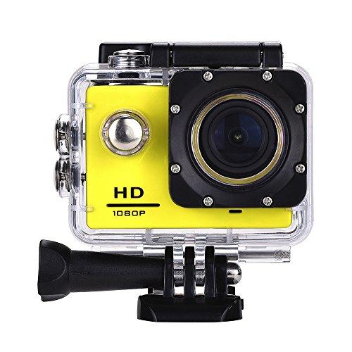 Lyhoon 1080P HD Sport Caméra 2.0 '' imperméable à l'eau sous-marine 30m 120 degrés lentille écran Sport DV Cam DVR avec plusieurs accessoires pour vélo moto Surf Ski Natation Plongée etc. (jaune, 1080P)