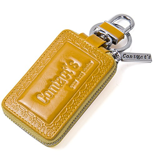 Contacts Genuine Leather Car Keychain Key Holder Bag Case Wallet for Women Yellow Womans Chain Wallet