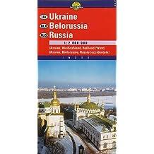 Carte routière : Ukraine, Biélorussie Russie occidentale