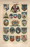 Wappen III, Brasilien, Kolumbien, Bolivien u.a. - Antiquarische Lithografie (Sammlerstück) von 1897