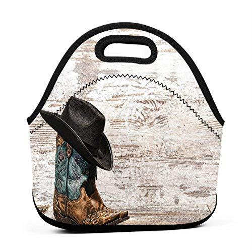 Traditionelle Rodeo Cowboyhut und Cowgirl-Stiefel Lunchbox für Damen Herren Erwachsene Kinder Teenager Mädchen Kleinkinder