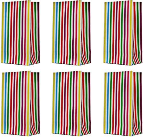 Bolsas Moji Fiestas y Regalos para Niños Paquete de 25 Bolsas Ideales para Fiestas Regalos de Cumpleaños Fiesta de Purim Detalles Actividades Escolares para Niños/Adultos Rayas Color Arcoiris