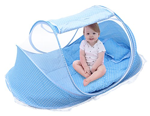 Cloud Kids Falten Unisex Baby Krippe Moskitonetz Babyzelt Reisebettzelt (Blau)