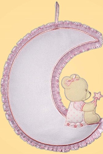 Fiocco nascita luna-orso con tela aida 55 fori (rosa)