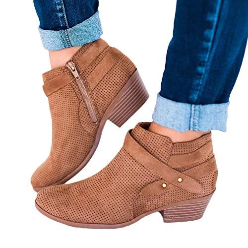 OSYARD Damen Kurze Boots Ankle Stiefeletten Mode Openwork Chelsea Boots, Frauen Vintage Shoes Pointed Toe Schuhe Schnalle Square Heel Booties Stiefel(235/38, Braun) (Stiefel Braune Frauen Kurze)