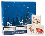 Schubladen Tee Adventskalender - mit 24 koffeinfreien Tees in Pyramiden-Teebeuteln, mit Honigsticks und kunstvollen'Baumschmuck-Schachteln'