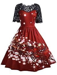 Riou Weihnachten Kleid Damen Spitzenkleid Elegant Abendkleid Vintage  Gedruckt Xmas Grosse grössen Knielang Cocktailkleid Swing Kleider 97746ec110