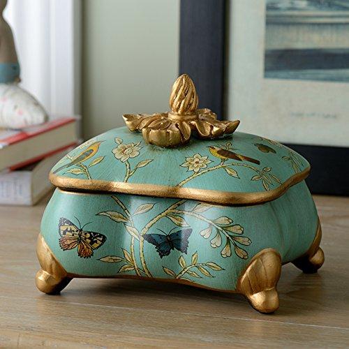 contenitore di monili di ceramica americana/Hand painted Butterfly trinket box di uccelli/contenitore di monili di stile di prop/Home decorazione ornamenti-A