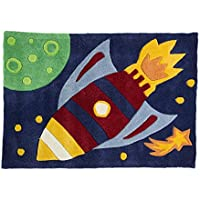 Multi Color Rug Kiddy Play Rocket Print Cool Design for Boys in Polyester Pile 70cm x 100cm