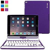 Snugg Custodia con Tastiera Girevole a 360° per iPad Air 2, Custodia Ultra Sottile in (Viola Bluetooth)