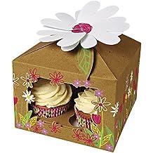 Ibex, scatola a forma di casa per cupcake, marrone, per 4cupcake, design floreale, confezione da 10