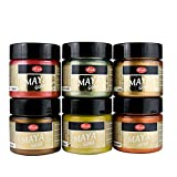 Maya Gold 6er Set (Indian Summer) inkl. LM Pinsel --- Viva Decor Metallic Effektfarbe, Metallglanz, Effekt Farbe Metall, Bastelfarbe, Dekofarbe