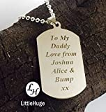 Personalised father dad dadd Gift man Valentine lover keepsake Heart dog tag