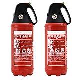 Feuerlöscher 2X 2kg ABC Pulver Auto-Feuerlöscher -sehr handlich- mit KFZ-Drahthalter &. Griffhaube DIN EN 3 inkl. ANDRIS® Prüfnachweis mit Jahresmarke &. ISO-Symbolschild