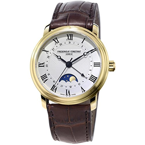 Frederique Constant Men's Classics Moonphase 40mm Leather Band Steel Case Automatic Watch FC-330MC4P5